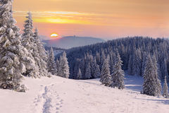 Beautiful winter sunrisein mountains. Stock Photography