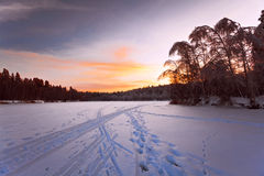 Beautiful winter sunset Stock Photos
