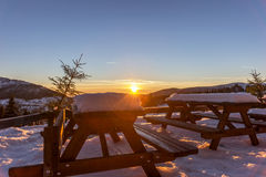 Beautiful winter sunset in Giant mountains Stock Photography