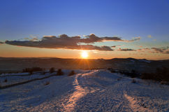 Beautiful winter sunset landscape Royalty Free Stock Images