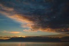 Dramatic Sky and Sunset Over Orcas Island, Washington, USA. Royalty Free Stock Photos