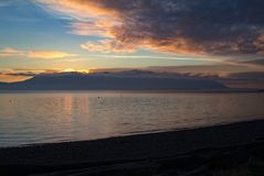 Dramatic Sky and Sunset Over Orcas Island, Washington, USA. Stock Images