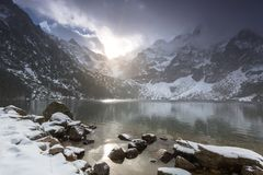 Eye of the Sea lake in Tatra mountains at winter Stock Image