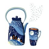 Beautiful winter teapot and cup with night town and forest. Stock Image