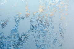 Beautiful winter texture patterns of frost on window Stock Images