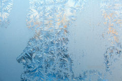 Beautiful winter texture patterns of frost on window Royalty Free Stock Photo