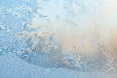 Beautiful winter texture patterns of frost on window Stock Photos