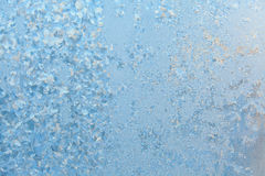 Beautiful winter texture patterns of frost on window Stock Image