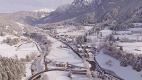Beautiful Winter Valley View Aerial 4k. Aerial of a Italian valley, covered with snow. This is a 4k footage stock video footage
