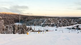 Beautiful winter view in Finland mountains, Ruka stock photo