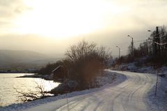 Winter view of a snowy dangerous road in Norway. Beautiful winter view of a snowy dangerous road in Norway Stock Photography