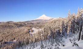 Beautiful Winter Vista of Mount Hood in Oregon, USA. Royalty Free Stock Image