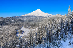 Beautiful Winter Vista of Mount Hood in Oregon, USA. Majestic View of Mt. Hood on a bright, sunny day during the Winter months royalty free stock photography