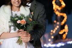 Beautiful winter wedding outdoors in evening. Closeup Royalty Free Stock Photo