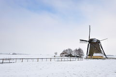 Beautiful winter windmill landscape Stock Images