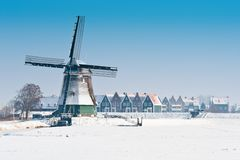 Beautiful winter windmill landscape. In Volendam the Netherlands Royalty Free Stock Photography