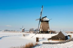Beautiful winter windmill landscape. In Schermerhoorn the Netherlands Stock Photos