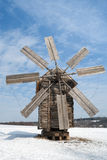 Beautiful winter windmill landscape. Windmills at the Pyrohiv in wintertime in the Ukraine Stock Image