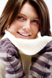 Beautiful Winter Woman. Portrait over light background Stock Photography
