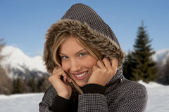 Beautiful winter woman. Beautiful woman in a enchanting winter landscape Stock Images