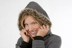 Beautiful winter woman. Beautiful young woman with winter clothes, isolated on white Royalty Free Stock Photo