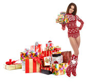 Beautiful Winter woman with christmas gifts Stock Photo
