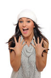Beautiful winter woman in a hat screaming Stock Image