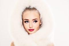 Beautiful Winter Woman Model in White Fur Royalty Free Stock Photo