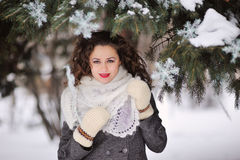 Beautiful winter woman playing with snow Stock Photography
