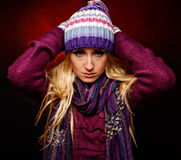 Beautiful winter woman in warm clothing Stock Images