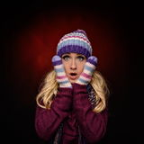 Beautiful winter woman in warm clothing Royalty Free Stock Photography