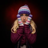 Beautiful winter woman in warm clothing Royalty Free Stock Photos