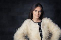Beautiful Winter Woman Wearing Fur Coat Royalty Free Stock Image