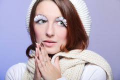 Beautiful winter woman with white eye-lashes Stock Photo