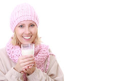 Beautiful Winter Woman With Milk Stock Photography
