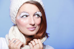 Beautiful winter young woman white eye-lashes Stock Photography