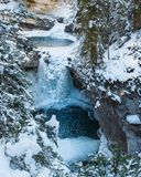 Wintertime Ice Hiking in Johnston Canyon, Banff National Park, Alberta, Canada royalty free stock images