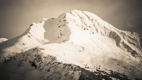 Beautiful wintry mountain landscape. Black and white photo hd format Stock Photo