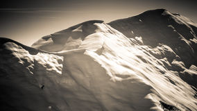Beautiful wintry mountain landscape. Black and white photo hd format Royalty Free Stock Photos