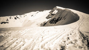 Beautiful wintry mountain landscape. Black and white photo hd format Royalty Free Stock Photography