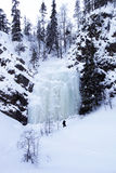 Winter wonderland with frozen waterfall, Finland Stock Photo