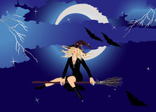 Beautiful Witch. On Broom with Moon and Stars,Vector illustration in AI-EPS8 format Royalty Free Stock Photo