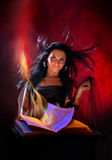 Beautiful witch. Portrait beautiful sexual witch with book