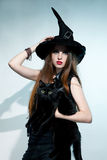 Beautiful witch with black cat Royalty Free Stock Photography