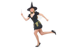 Beautiful witch in black dress isolated on white Stock Image