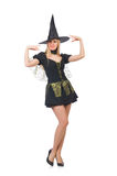 The beautiful witch in black dress isolated on Royalty Free Stock Photography