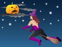 Beautiful witch on broom Stock Images