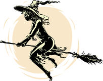 Beautiful witch on broom illustration Royalty Free Stock Photography
