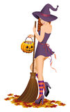 Beautiful witch with a broom. Vector illustration. Royalty Free Stock Image