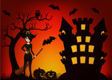 Beautiful Witch and Castle Stock Image